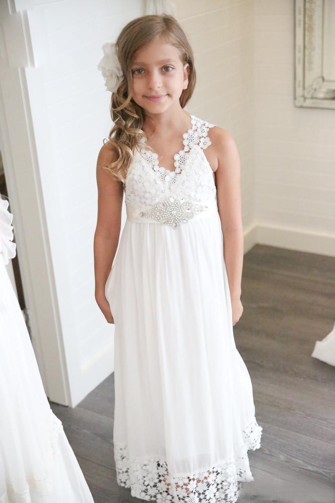 New Arrival 2019 Boho Bohemian   Flower     Girl     Dresses   For Weddings V Neck Chiffon Lace Formal Beach Communion   Dresses