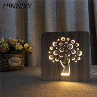 Hinnixy 3D Wood Carving Night Light Feet Tree Coffee Cup Cross LED Bedside Lamp USB Decor Light Fixtures Baby Kid Literary Gift