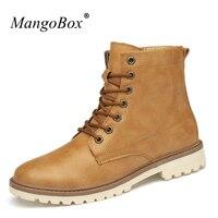 Mangobox冬履物大人ブラウン男性男の子ブーツ滑り止め男性ミリタリースニーカーハンサム青年足首靴