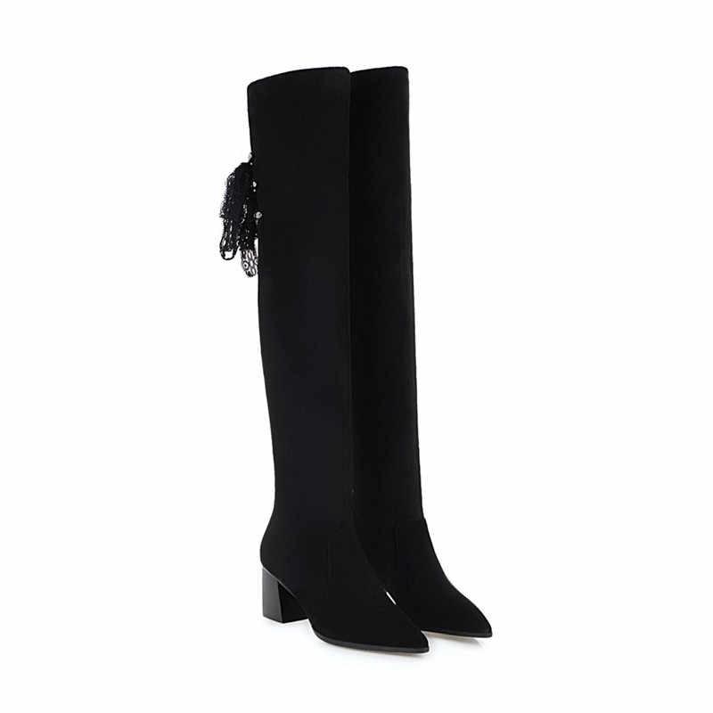 ASUMER สีดำแฟชั่นฤดูใบไม้ร่วงฤดูหนาวรองเท้าผู้หญิง pointed Toe ผู้หญิงกว่าเข่าบู๊ทส์ฝูง CROSS ผูก PROM รองเท้าใหญ่ขนาด 34-43