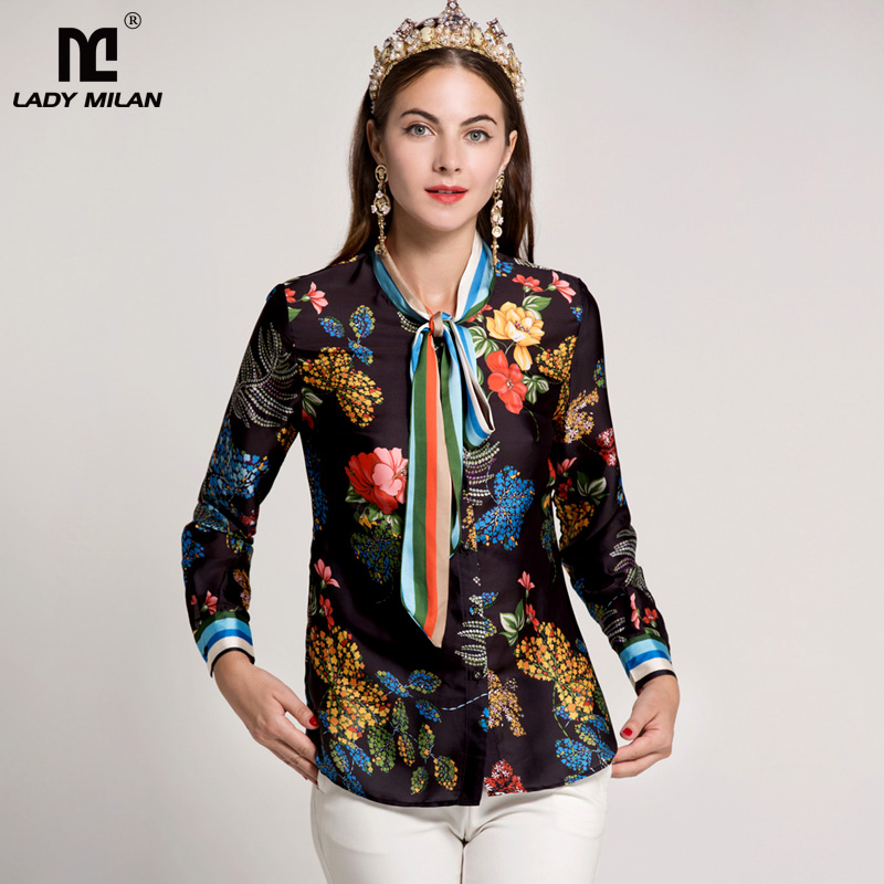 New Arrival 2018 Womens Sash Bow Long Sleeves Printed Striped Floral Fashion Runway Shirts
