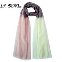 LA BEAU Women Summer 2 Color Silk Scarf Sjaals Foulard Women Patchwork Soild Color Bandana Women