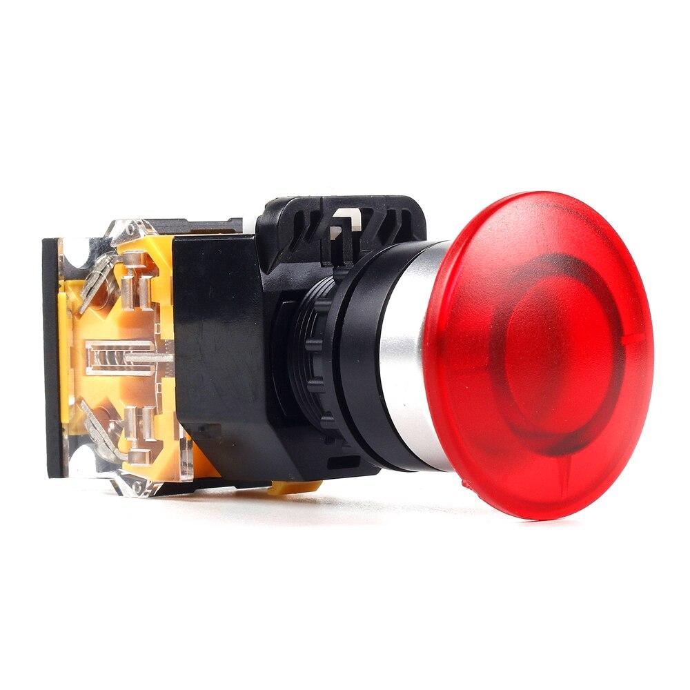 все цены на 5 PCS Push button switch Mushroom button  Latching OR Momentary Waterproof IP65 LA115-B8-11M-G онлайн