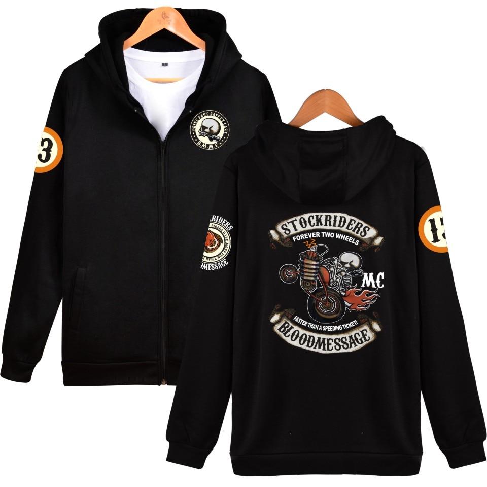 Skull Stockriders Motorcycle Zipper Hoodie Men Skull Locomotive Punk Sweatshirt Hoodies Casual Harajuku Jacket Coat 4XL Clothes