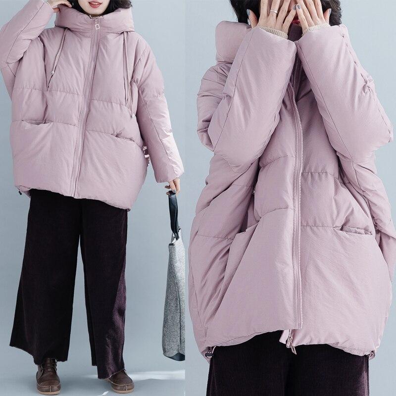 Long Parkas 2019 Winter New Hooded Down Cotton Jackets Women Pink Large Size Wadded Jacket Women Fashion Warm Jacket N866