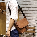 European and American Minimalist Style Xiao.p Mens Crazy Horse PU Leather Messenger Shoulder Bag Satchel Cross Body Shoulder Bag