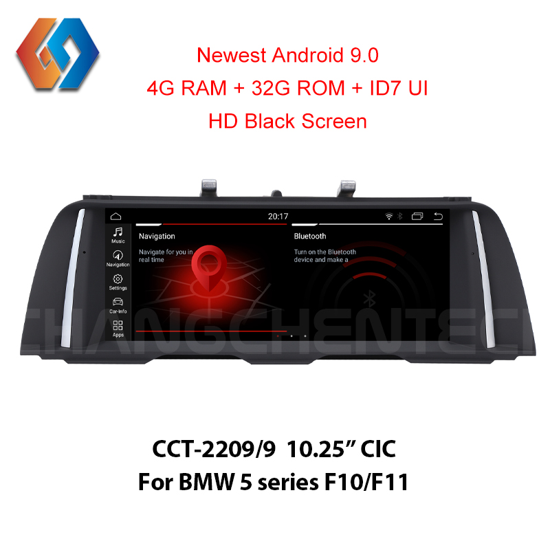 Android 9.0 Multimídia Carro Tela para BMW 5 4G Série F10 F11 CIC 1920x720 HD Toque Preto rádio do carro Embutido CarPlay Wi-fi GPS BT