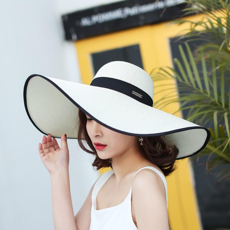 2018 summer hat for women vacation wide brim straw hats Anti-UV sun on the beach