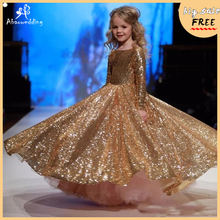 gold little girls dresses floor length ball gowns for kids birthday party dress for girls fancy flower girls dresses 2-12 years rose gold sequins blush tulle ball gown flower girls dresses 2018 cap sleeve puffy little girls birthday party dress any size