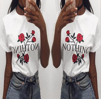 2017 Summer Fashion Women O Neck T Shirts Sexy Casual Fashion Short Sleeve Print Flower Women