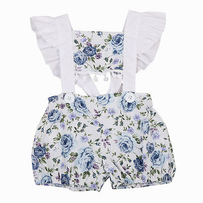 Newborn Baby Girls Clothes Tops Floral   Romper   Short Sleeve Backless Cute Jumpsuit Outfits Sunsuit Clothing Baby Girl 0-24M