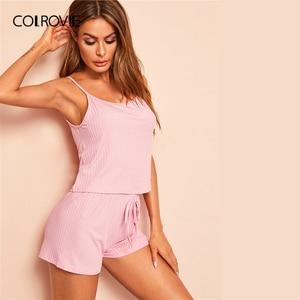 Image 3 - COLROVIE Pink Ribbed Cami Sexy Cami Pajamas Set 2019 Summer Female Top And Drawstring Shorts Women Sleeveless Sleepwear