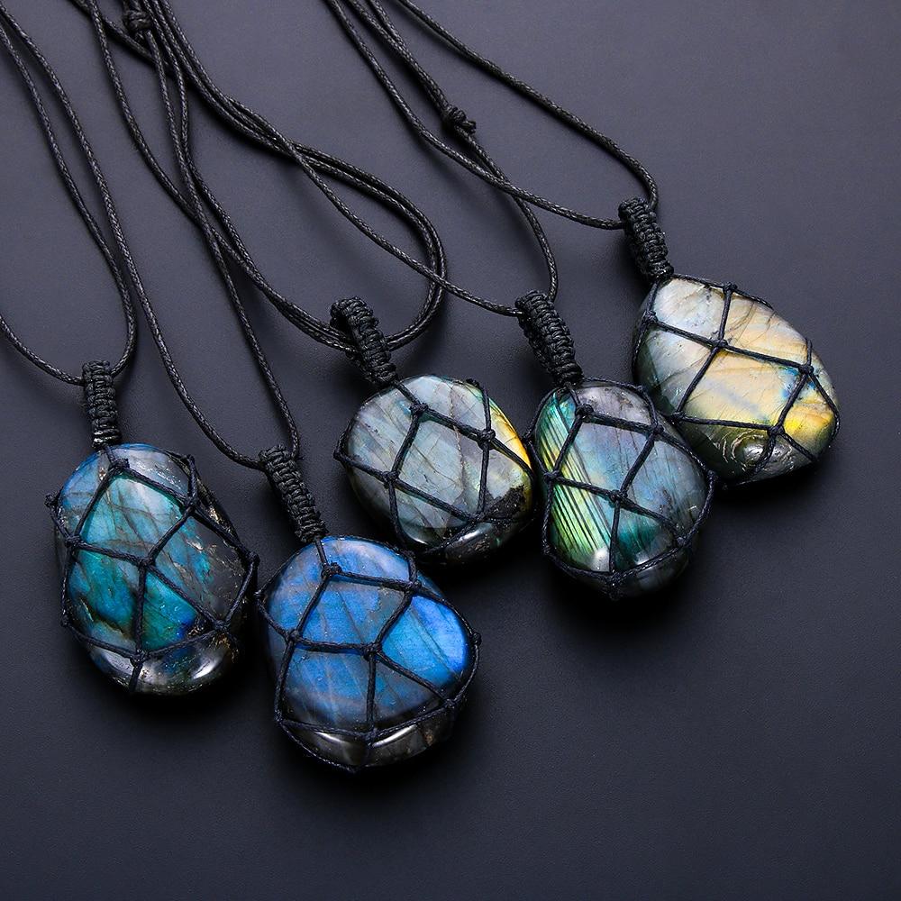 Dragons Heart Labradorite Necklace Natural Stone Pendant Wrap Braid Yoga Macrame Necklaces Men Women Energy Necklace Jewelry
