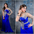 Kaftan marroquino 2015 de Um Ombro Azul Royal Cristal Bainha Vestidos Manga Comprida Árabe Kaftan Dubai Muçulmano Vestido de Noite