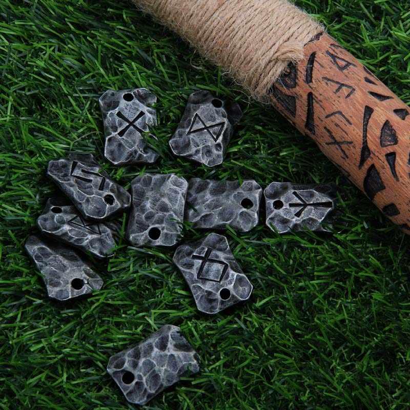 Livraison directe en fer forgé ALGIZ Rune Viking amulette pendentif nordique Talisman collier martelé runique