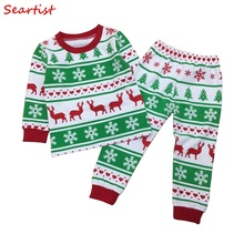 Seartist Boys Girls Christmas Pajamas Set Kids Christmas Reindeer Clothing Set Children Pj's Nightwear Baby Girl Boy Clothes 30C цена и фото