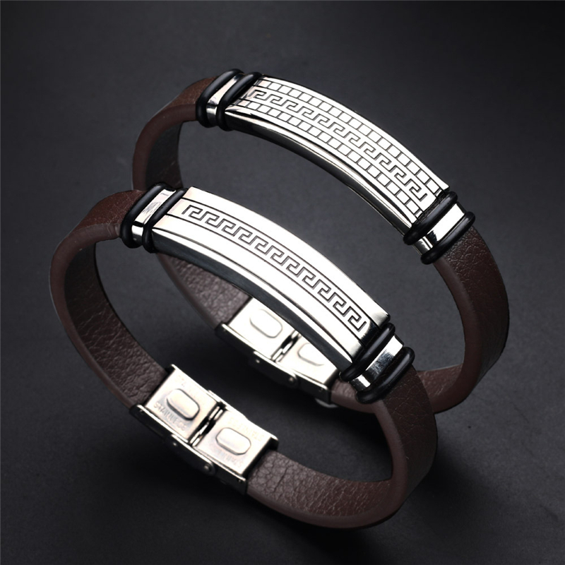 2018 Fashion Handmade Stainless Steel Genuine Leather Bracel