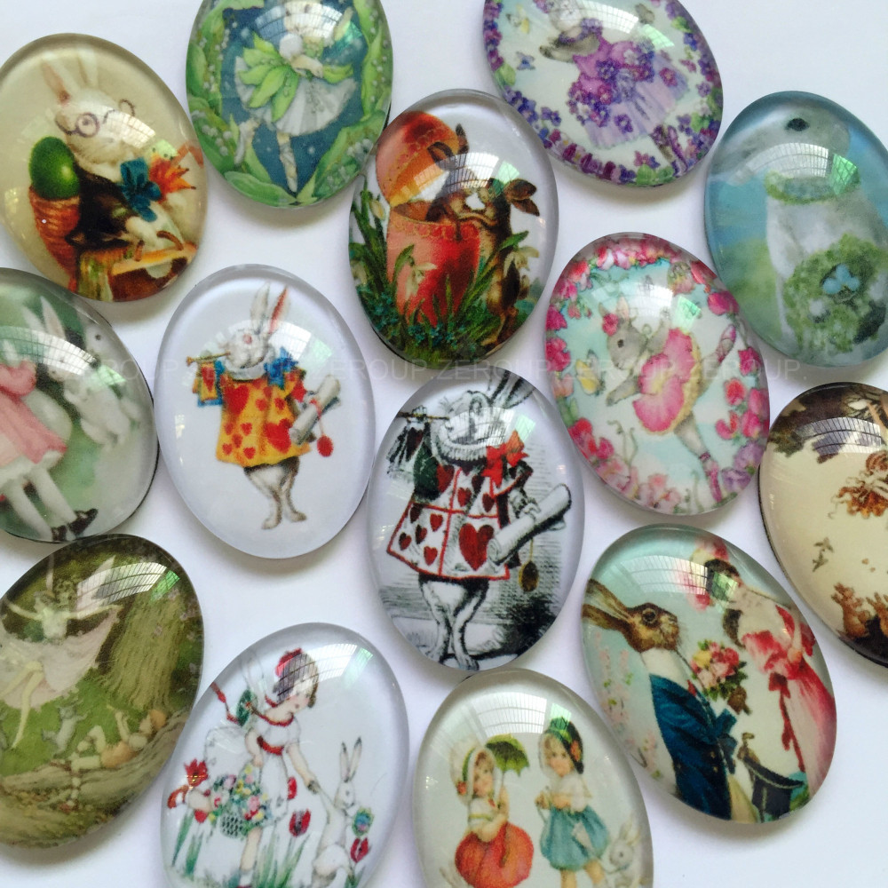 30x40mm Handmade Photo Glass Cabochons Mixed Pattern Domed Oval Jewelry Accessories Supplies For Jewelry 10pcs TP-329