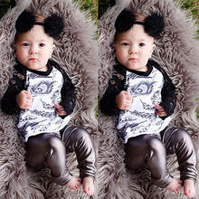 2016 Newborn Baby Boy Girl Clothes Lace Feather T-shirt+Leggings 2PCS Suit Outfits