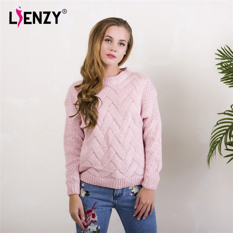 Warm 3D Loose Women Sweater 2017 Winter Pink O Neck Long Sleeve Wave Knit Pullovers Plaid Pull femme Padded Winter Clothing