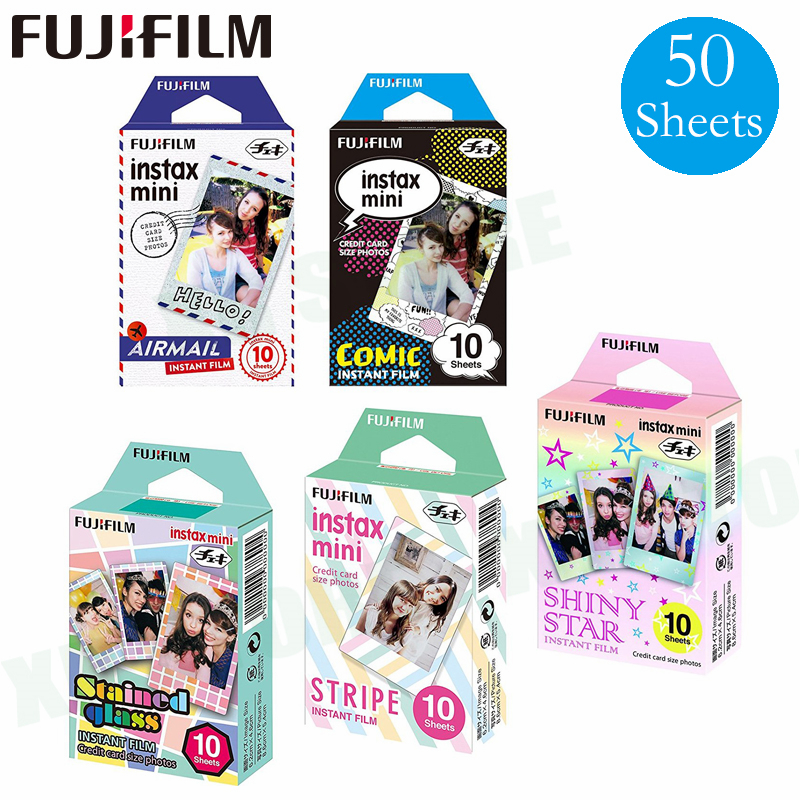 50 Fujifilm vitrail + bande dessinée + air mail + rayure + étoile brillante pour Instax Mini 8 9 Film Fuji papier Photo instantané 70 7 s 50 s 50i 90 25