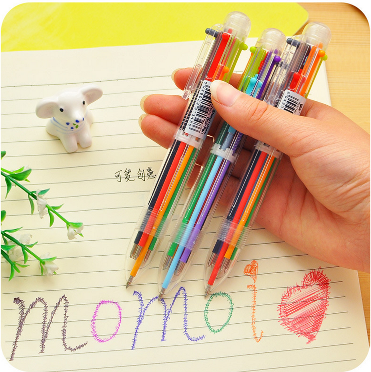 6 colors in 1pen Rainbow Press style ballpoint pen Writing ...
