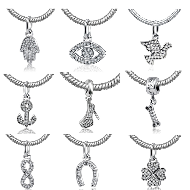 NBSAMENG Authentic 925 Sterling Silver Bead Original Crystal Shoes Pendant Beads Fit Pandora Bracelets & Bangles Charms Jewelry
