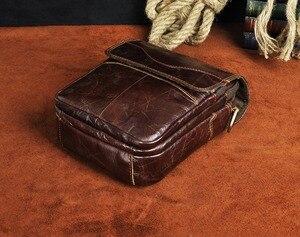 "Image 5 - Qualidade de couro original masculino casual ombro messenger bag moda cruz corpo saco 8 ""almofada tote mochila 144 r"