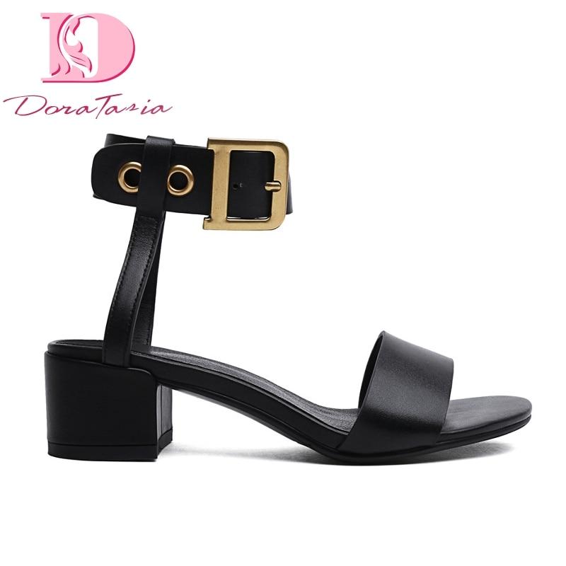 Doratasia brand big size 42 genuine cow leather sheepskin chunky heels women Shoes elegant party sandals