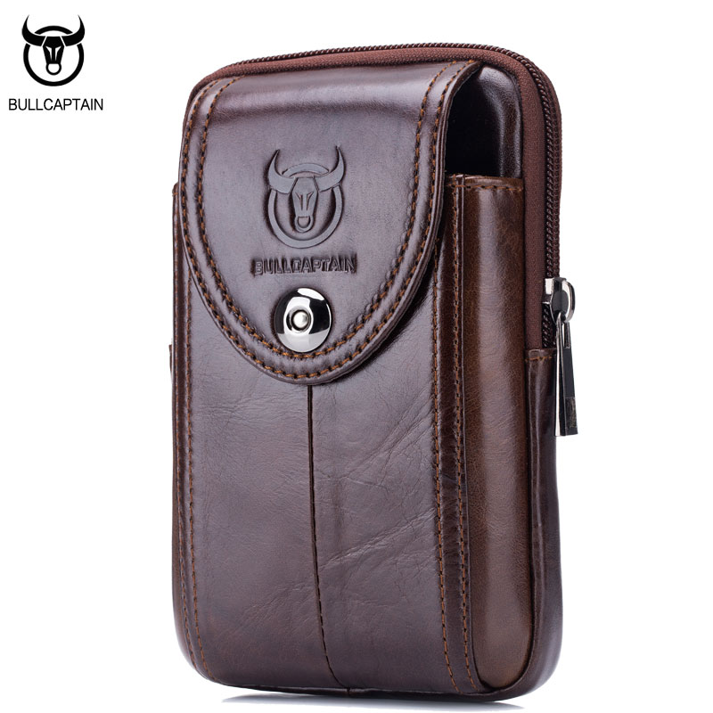 BULLCAPTAIN  MEN'S Leather BELT WAIST Bag Military Fanny PACK Molle Small Money Phone WAIST PACK Bum Pouch PURSE