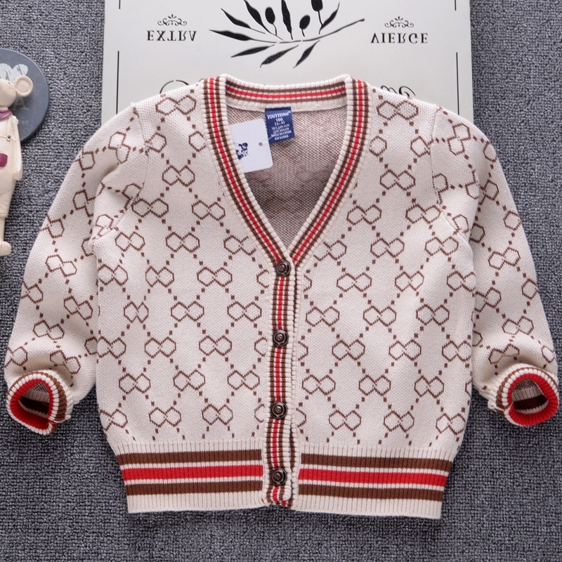 2018 Brand Cardigan Sweater for Boys Winter Knit Girls Sweaters Children Clothing Infant Pullover Baby Toddler Cardigan Kids T horn button cable knit cardigan