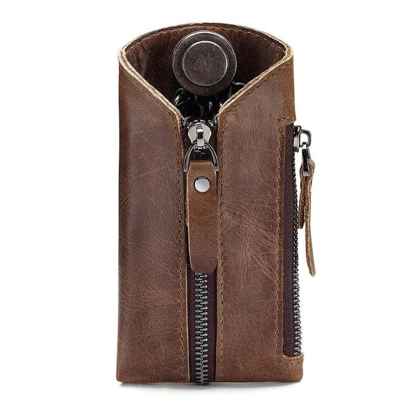 Premium New Genuine Leather Portable Card Holder Car Key Purse Bag Case Keychain Pouches Wallet
