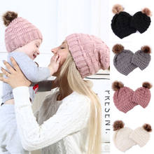 PUDCOCO Newest 2019 Women Mom Baby Kid Knit Wool Pom Bobble Hat Winter Warm Casual Beanie Caps(China)