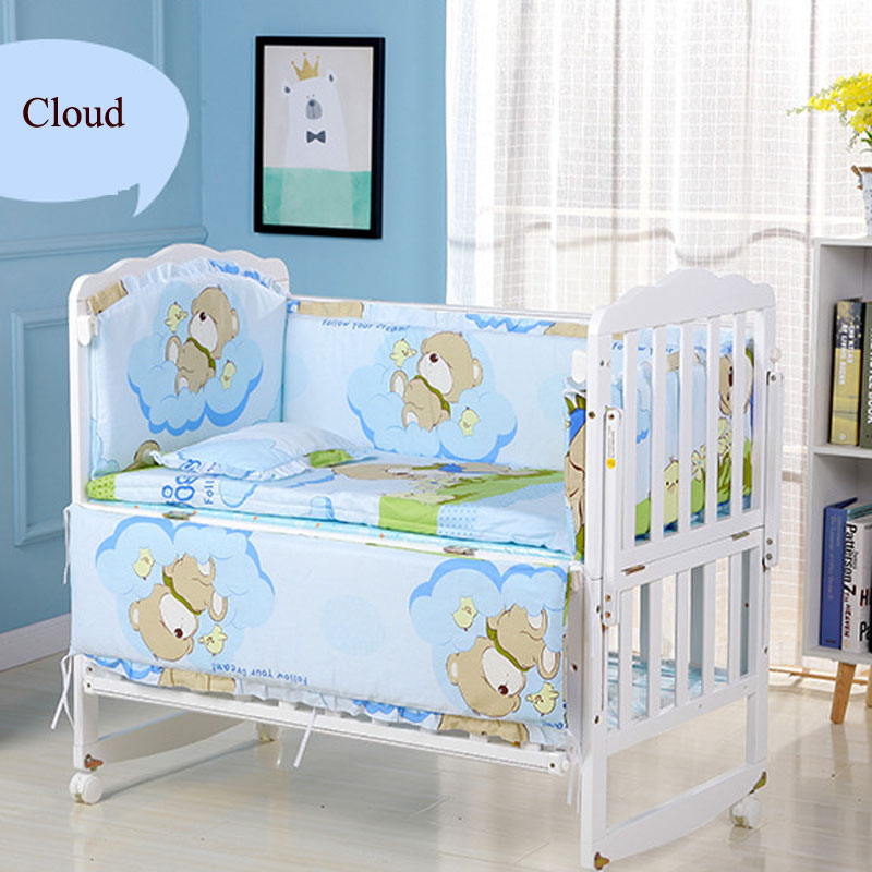 Five Piece Baby Bedding Sets Crib Bumpers Bed Around Cot Bed Sheets Cotton Thickening Baby Beddings Newborn Bed Bumper 56*100cm
