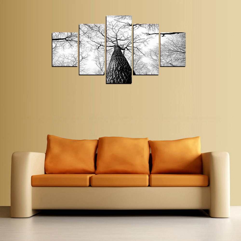 5 Panels Canvas Print Black And White Trees Crown Painting On Canvas ...