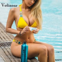 Vefinear Diamonds Bikini 2018 Blue Crystal Metal Swiming Wear Woman Sexy Bling Jewellery BiquiniBeach Wear Solid Bathing Suits
