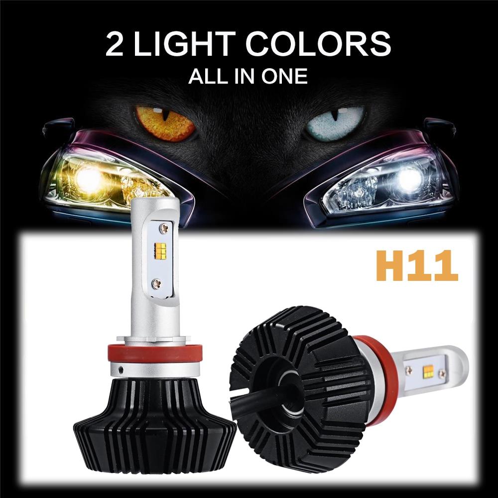 ФОТО Auxmart H11 Car LED Headlight Bulbs Yellow Light 3000K White Light 6500K 50W 8000lm CSP Cree Chips Headlamp Fog Lights