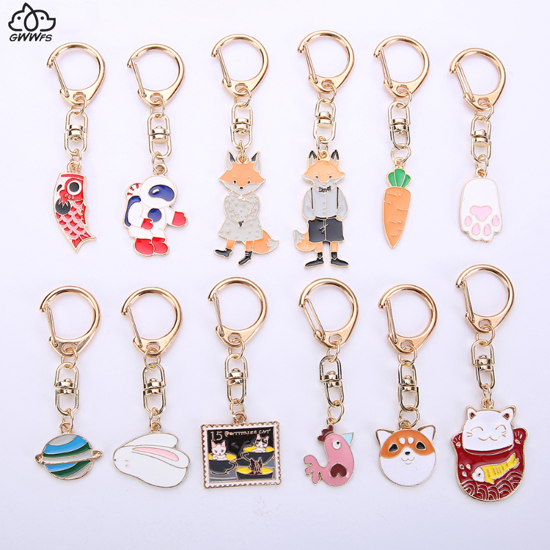 Gwwfs Mini Car Keychain Jewellery Couple Keychain Gifts For Men And Women Fashion Rabbit Key Ring Carrot Shiba Inu Dog 2019 New