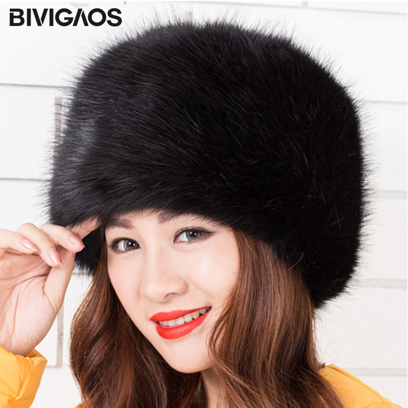 BIVIGAOS 2017 New Fashion Velvet Winter Warm Dome Caps Faux Fox Fur Hat Fake Mink Fur Hats For Women   Skullies     Beanies   Bone