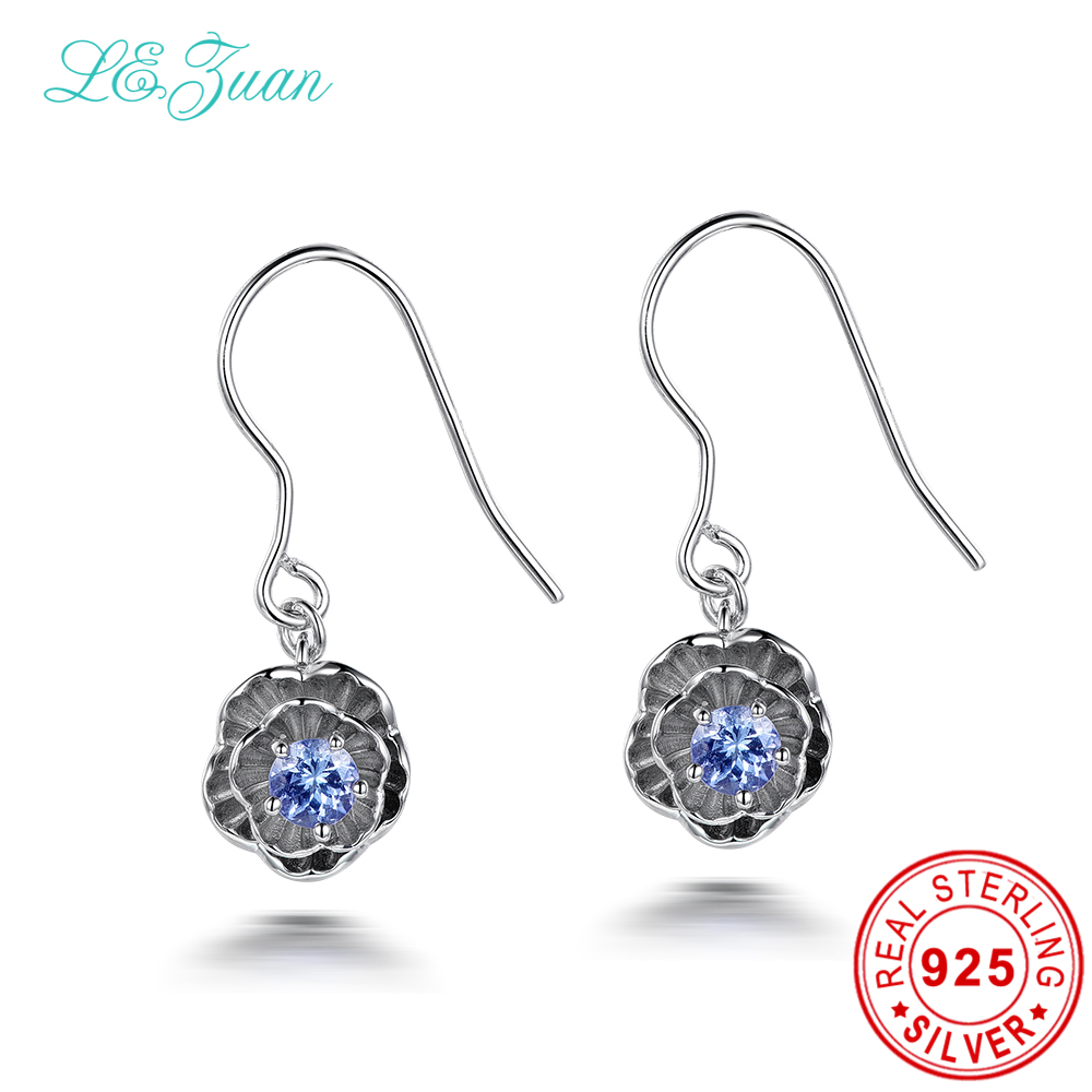 I&zuan Vintage 925 Sterling Silver Earrings 02ct Natural Tanzanite  Romantic Lotus Flower Drop Earrings Fine