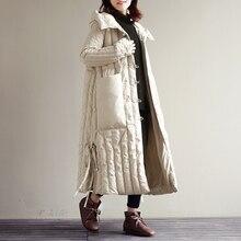 Winter fluffy goose down filler hooded coat white goose down