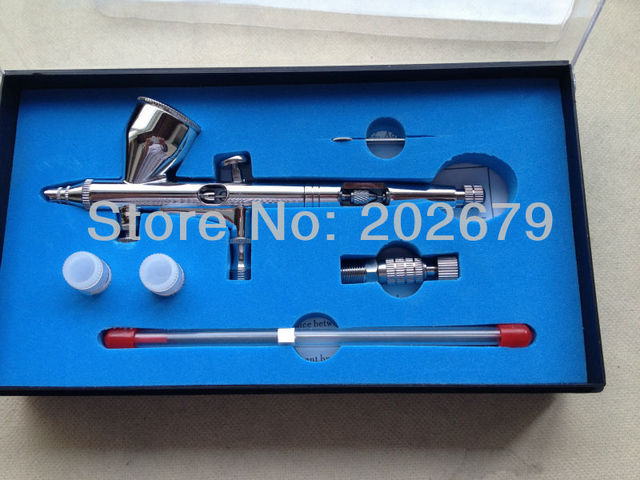 New  Spray DUAL ACTION Nail Airbrush Kit Gun Paint Adjustable  0.2mm nozzle with 0.3mm 0.5mm nozzle Free Shipping