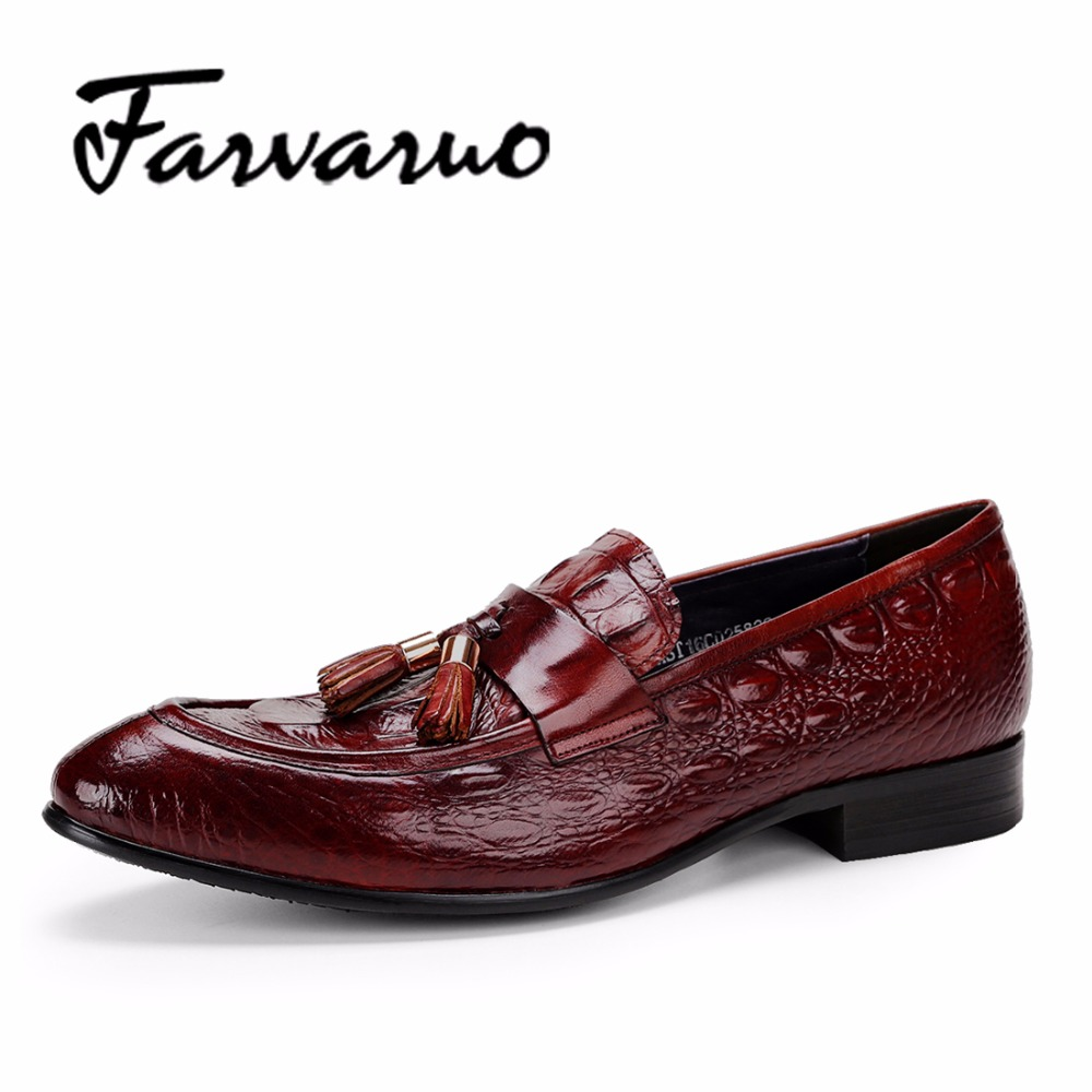 Farvarwo Italian Crocodile Mens Formal Shoes for Male Black Leather Embossed Basic Fashion Tassels Dress Shoe Large Size Loafers top quality crocodile grain black oxfords mens dress shoes genuine leather business shoes mens formal wedding shoes