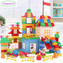 Happywill HM180 160pcs My First Deluxe Box of Fun Amusement Model Big Size Building Blocks Brick Baby Toys Compatible