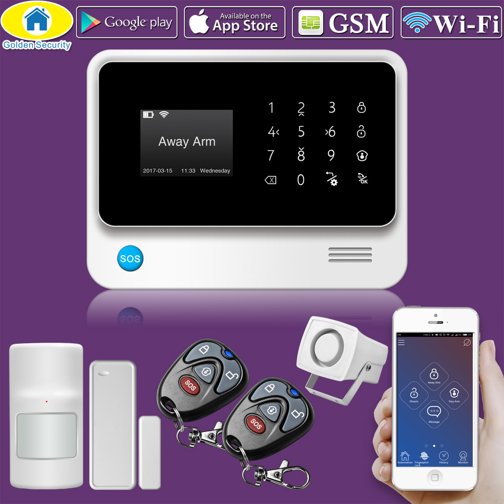 Golden Security G90B Plus WiFi GSM Wireless Wired Security System 2G Alarm System APP Control Spanish/Russian/English/French free shipping guard english french app wireless gsm pstn phone alarm security system built in speaker for intercom security