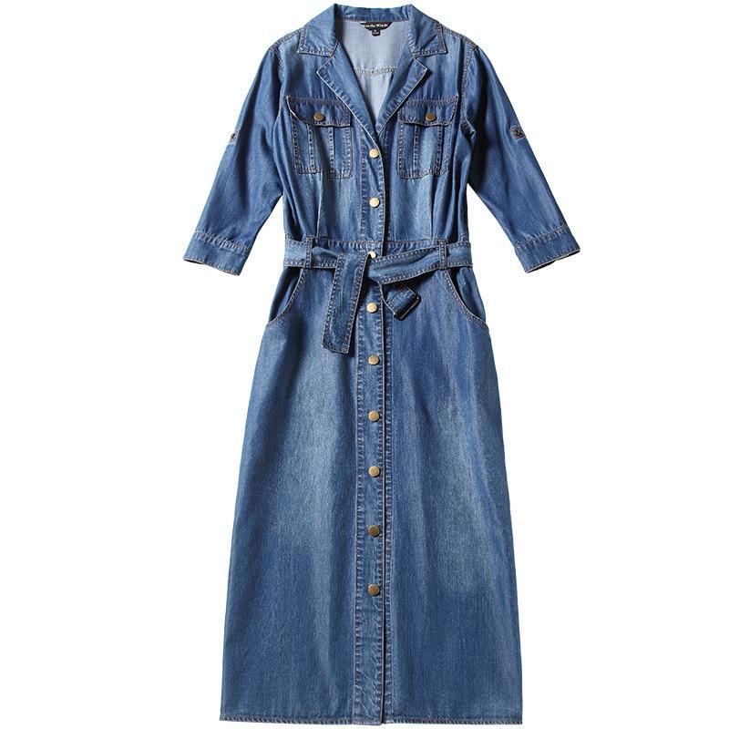 2018 Autumn and Spring denim dress single breasted waist slim slimming split denim dress tencel denim dress nw18a1798 in Dresses from Women 39 s Clothing