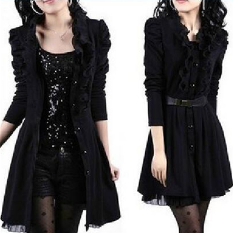 2016 Autumn Winter Trench Coat Women Plus Size Black Lace Dress Coat