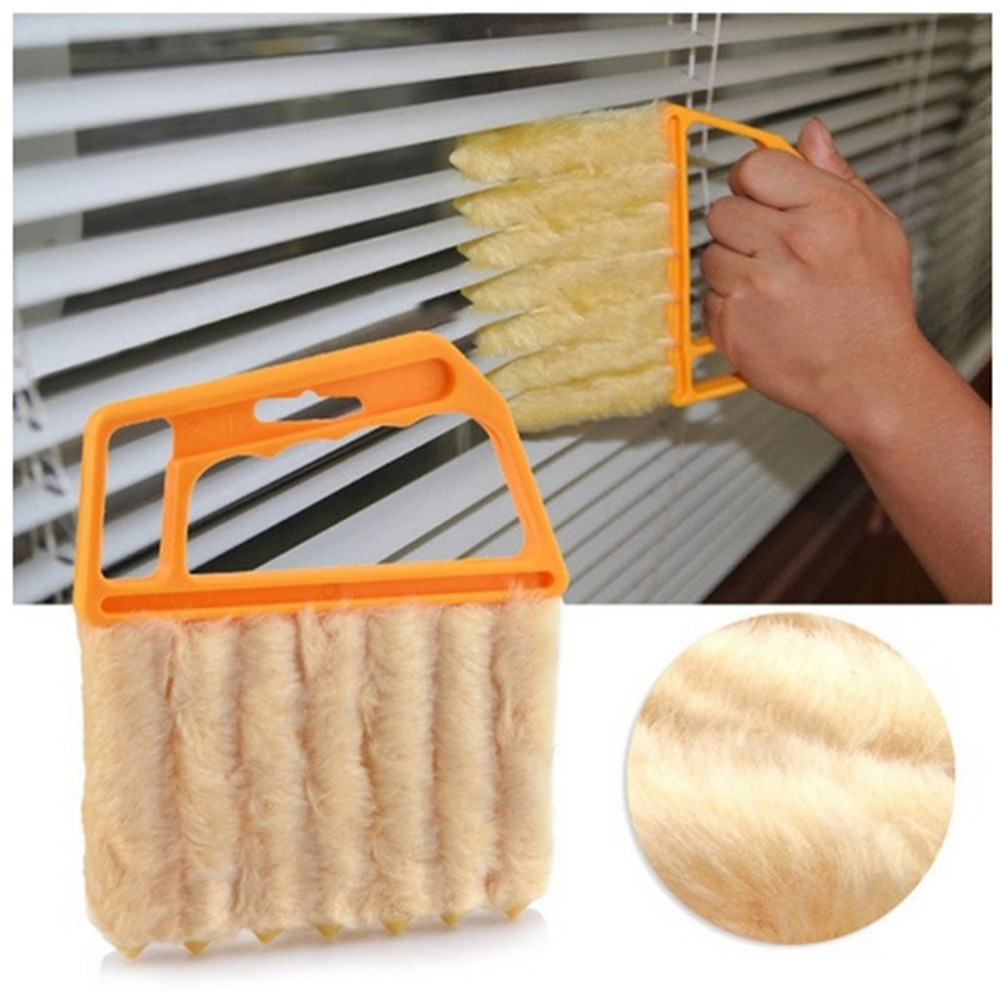 New 7 Hands Held Blind Cleaner Microfibre Venetian Blind Brush Window Air Conditioner Duster Cleaner Mini