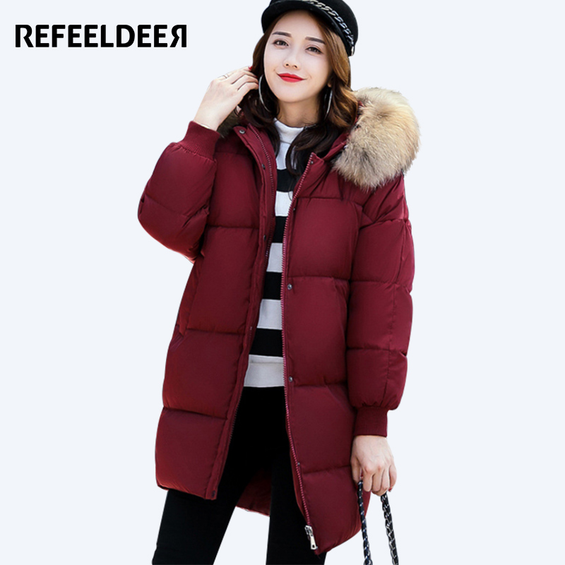 Refeeldeer Womens Winter Jackets And Coats 2017 Fur Collar Cotton Padded Thick Warm Hooded Loose Female Jacket Winter Coat Lady womens coats and jackets thick fur collar winter jacket women hooded cotton wadded jacket parka female outwear maxi coats c3708