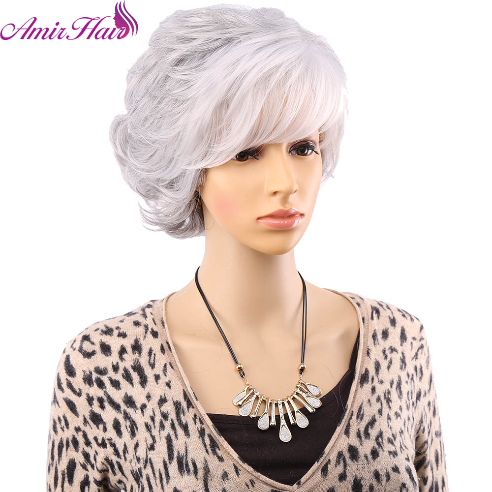 Amir Hair Natural Wave Silver Grey Short Wig Side Bangs